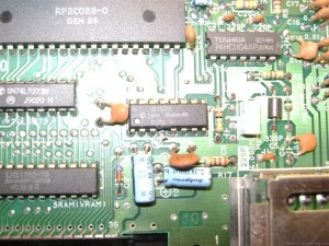 Nintendo NES Motherboard after Lockout Chip (CIC chip) has been cut