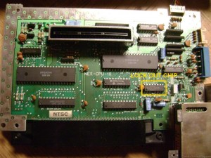 NES Motherboard with Lockout CIC Chip Highlighted