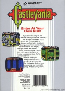 Konami Castlevania Box Rear For Nintendo Entertainment System