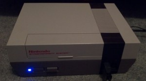 View of Blue LED modded Nintendo NES
