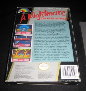 A Nightmare on Elm Street NES Box Back